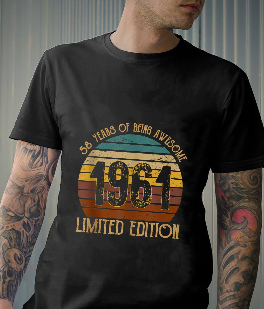 58 Years Of Being Awesome Vintage 1961 Happy Birthday 58th Shirt