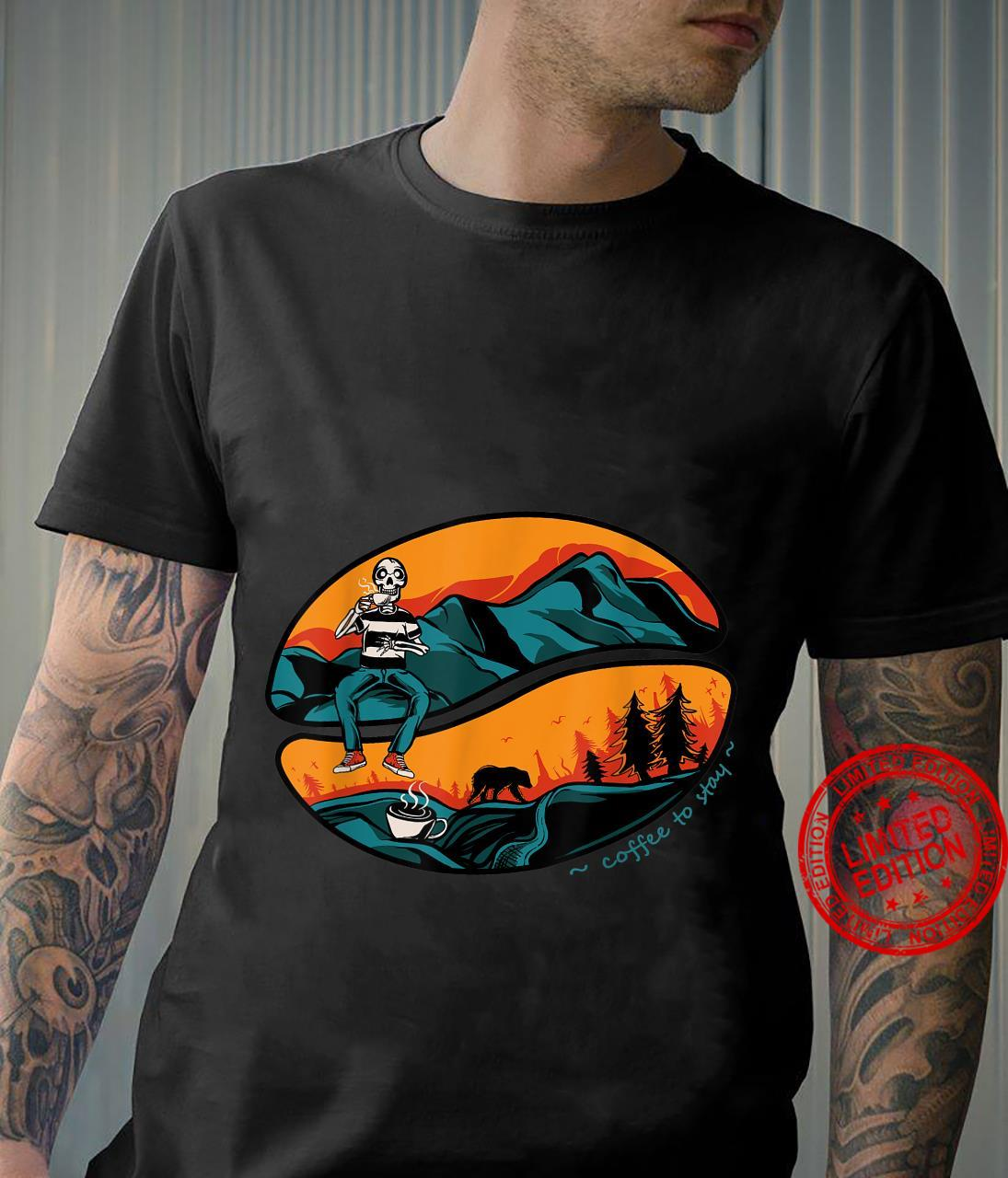 Retro Skull Drinking Coffee In The Wildlife And Mountain Shirt